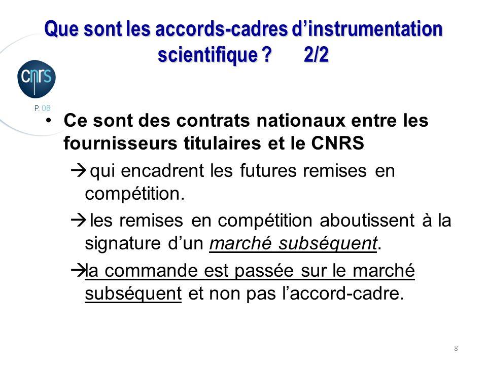 P. 08 8 Que sont les accords-cadres dinstrumentation scientifique ?2/2 Ce sont des contrats nationaux entre les fournisseurs titulaires et le CNRS qui