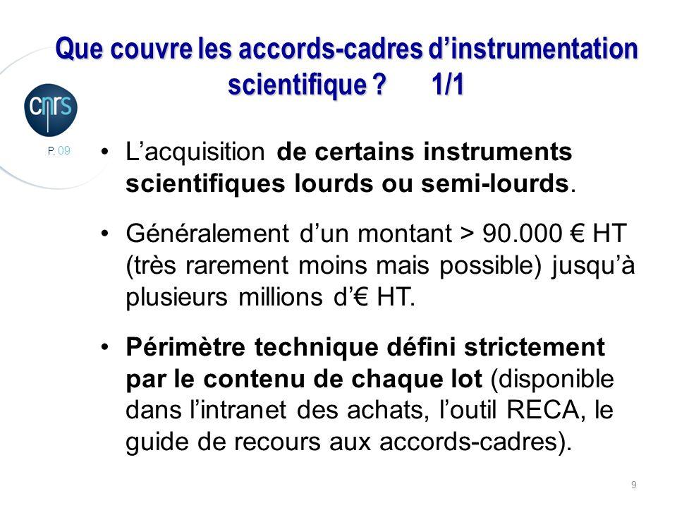 P. 09 9 Que couvre les accords-cadres dinstrumentation scientifique ?1/1 Lacquisition de certains instruments scientifiques lourds ou semi-lourds. Gén