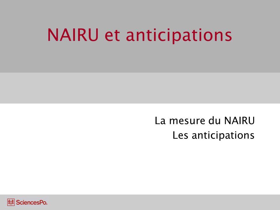 NAIRU et anticipations Le NAIRU Anticipations adaptatives et rationnelles Les implications de politique économique