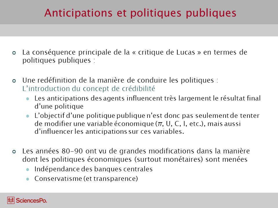 La conséquence principale de la « critique de Lucas » en termes de politiques publiques : Une redéfinition de la manière de conduire les politiques :