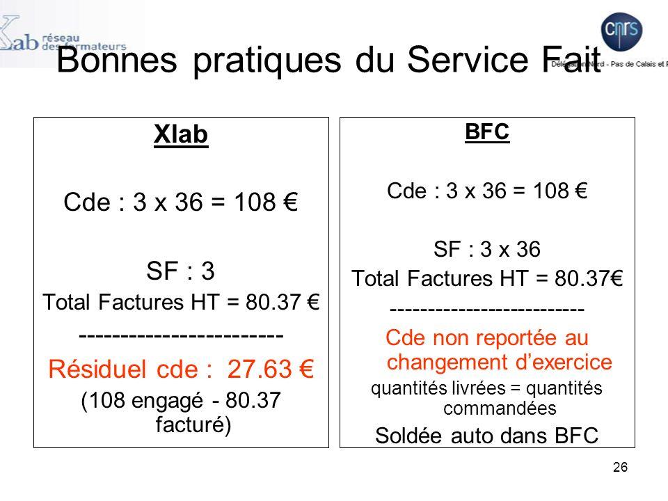 26 Bonnes pratiques du Service Fait Xlab Cde : 3 x 36 = 108 SF : 3 Total Factures HT = 80.37 ------------------------ Résiduel cde : 27.63 (108 engagé - 80.37 facturé) BFC Cde : 3 x 36 = 108 SF : 3 x 36 Total Factures HT = 80.37 -------------------------- Cde non reportée au changement dexercice quantités livrées = quantités commandées Soldée auto dans BFC