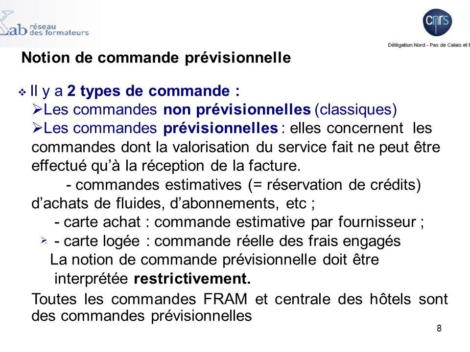 9 Lindicateur prévisionnel ou non prévisionnel nest modifiable que pour une commande au statut « enregistrée » (commande qui na pas fait lobjet de lédition dun bon de commande).