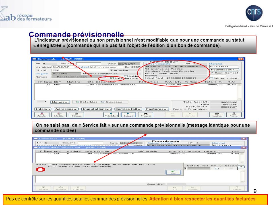 30 Facture Pour saisir la facture la saisie du numéro de ligne commande est obligatoire.