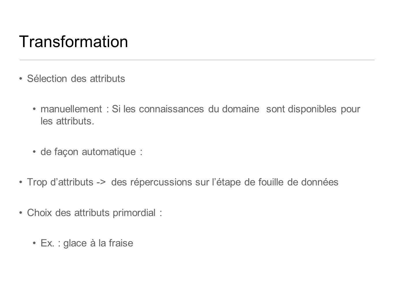 Transformation Sélection des attributs manuellement : Si les connaissances du domaine sont disponibles pour les attributs. de façon automatique : Trop