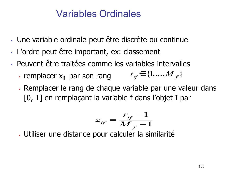 105 Variables Ordinales Une variable ordinale peut être discrète ou continue Lordre peut être important, ex: classement Peuvent être traitées comme les variables intervalles remplacer x if par son rang Remplacer le rang de chaque variable par une valeur dans [0, 1] en remplaçant la variable f dans lobjet I par Utiliser une distance pour calculer la similarité
