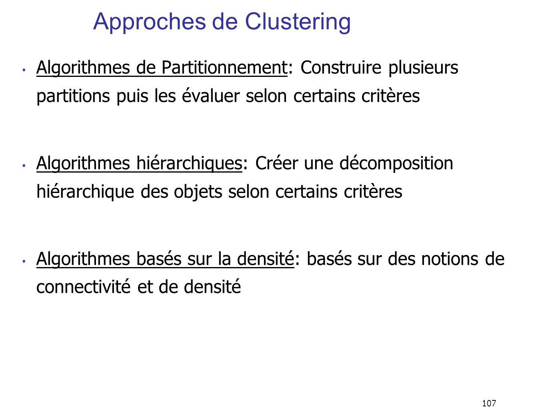 107 Approches de Clustering Algorithmes de Partitionnement: Construire plusieurs partitions puis les évaluer selon certains critères Algorithmes hiéra