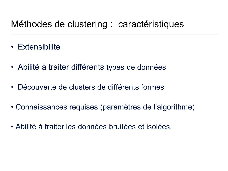 Méthodes de clustering : caractéristiques Extensibilité Abilité à traiter différents types de données Découverte de clusters de différents formes Connaissances requises (paramètres de lalgorithme) Abilité à traiter les données bruitées et isolées.