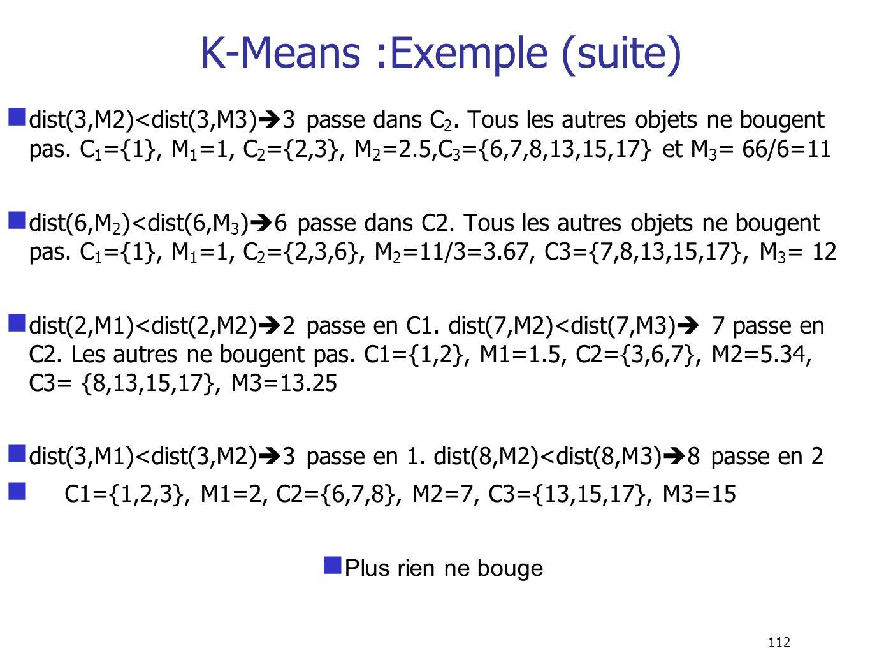 112 dist(3,M2)<dist(3,M3) 3 passe dans C 2. Tous les autres objets ne bougent pas. C 1 ={1}, M 1 =1, C 2 ={2,3}, M 2 =2.5,C 3 ={6,7,8,13,15,17} et M 3