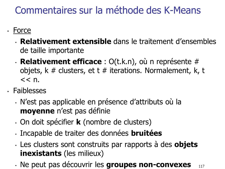117 Commentaires sur la méthode des K-Means Force Relativement extensible dans le traitement densembles de taille importante Relativement efficace : O(t.k.n), où n représente # objets, k # clusters, et t # iterations.