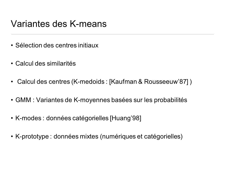 Variantes des K-means Sélection des centres initiaux Calcul des similarités Calcul des centres (K-medoids : [Kaufman & Rousseeuw87] ) GMM : Variantes de K-moyennes basées sur les probabilités K-modes : données catégorielles [Huang98] K-prototype : données mixtes (numériques et catégorielles)