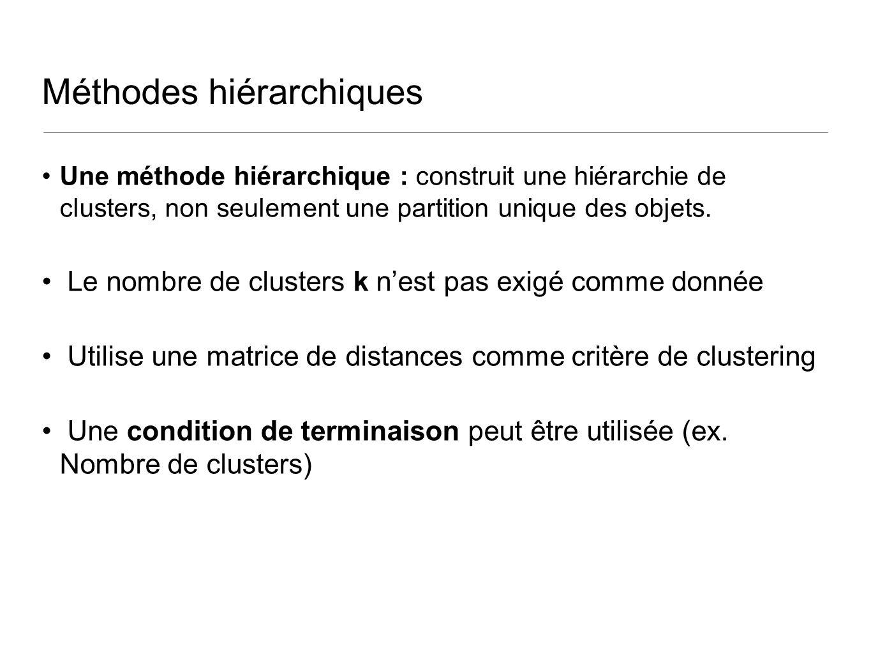 Méthodes hiérarchiques Une méthode hiérarchique : construit une hiérarchie de clusters, non seulement une partition unique des objets. Le nombre de cl