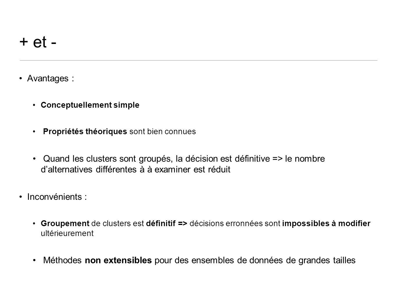 + et - Avantages : Conceptuellement simple Propriétés théoriques sont bien connues Quand les clusters sont groupés, la décision est définitive => le nombre dalternatives différentes à à examiner est réduit Inconvénients : Groupement de clusters est définitif => décisions erronnées sont impossibles à modifier ultérieurement Méthodes non extensibles pour des ensembles de données de grandes tailles