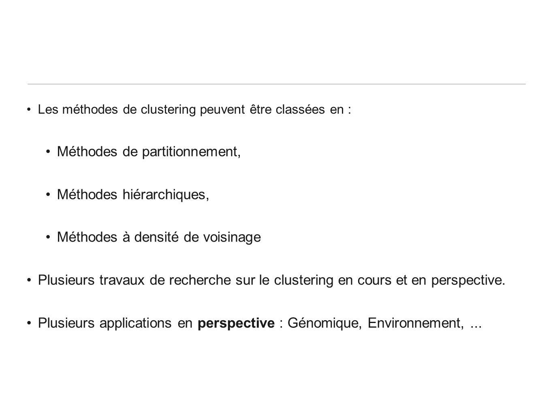 Les méthodes de clustering peuvent être classées en : Méthodes de partitionnement, Méthodes hiérarchiques, Méthodes à densité de voisinage Plusieurs t