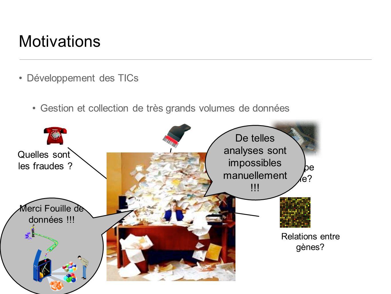 Motivations Développement des TICs Gestion et collection de très grands volumes de données Quelles sont les fraudes ? Associations entre produits? Que