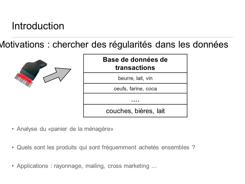 Introduction Analyse du «panier de la ménagère» Quels sont les produits qui sont fréquemment achetés ensembles ? Applications : rayonnage, mailing, cr