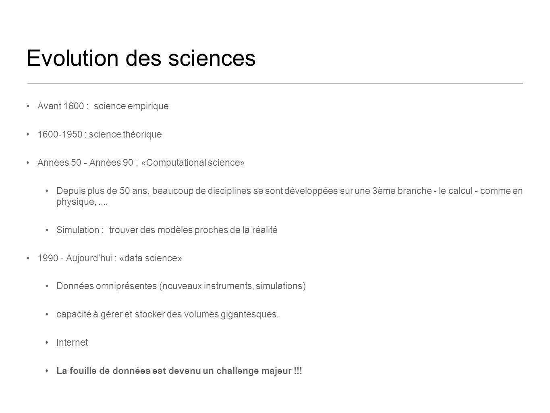 Evolution des sciences Avant 1600 : science empirique 1600-1950 : science théorique Années 50 - Années 90 : «Computational science» Depuis plus de 50