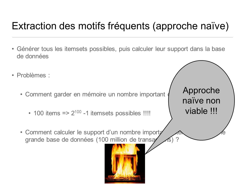Extraction des motifs fréquents (approche naïve) Générer tous les itemsets possibles, puis calculer leur support dans la base de données Problèmes : Comment garder en mémoire un nombre important ditemsets .
