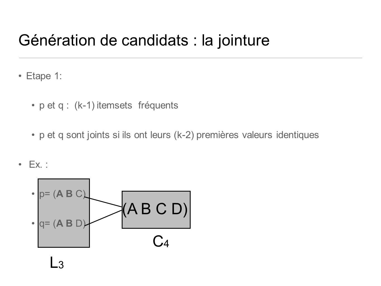Génération de candidats : la jointure Etape 1: p et q : (k-1) itemsets fréquents p et q sont joints si ils ont leurs (k-2) premières valeurs identiques Ex.