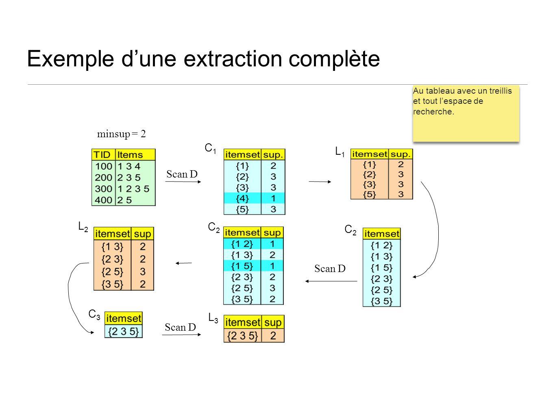 Exemple dune extraction complète Scan D C1C1 C2C2 L3L3 L1L1 L2L2 C2C2 C3C3 minsup = 2 Au tableau avec un treillis et tout lespace de recherche.