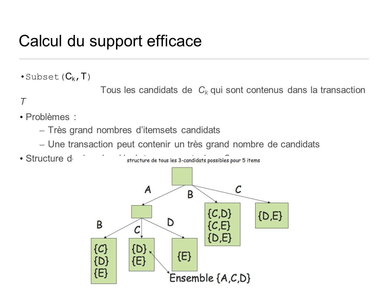Calcul du support efficace Subset( C k, T ) Tous les candidats de C k qui sont contenus dans la transaction T Problèmes : – Très grand nombres ditemsets candidats – Une transaction peut contenir un très grand nombre de candidats Structure de données Hash tree pour stocker C k