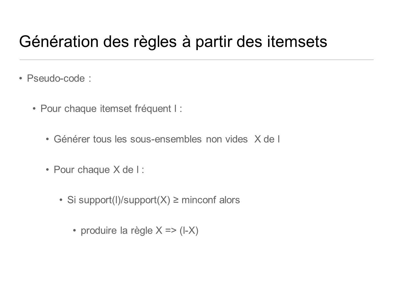 Génération des règles à partir des itemsets Pseudo-code : Pour chaque itemset fréquent l : Générer tous les sous-ensembles non vides X de l Pour chaque X de l : Si support(l)/support(X) minconf alors produire la règle X => (l-X)