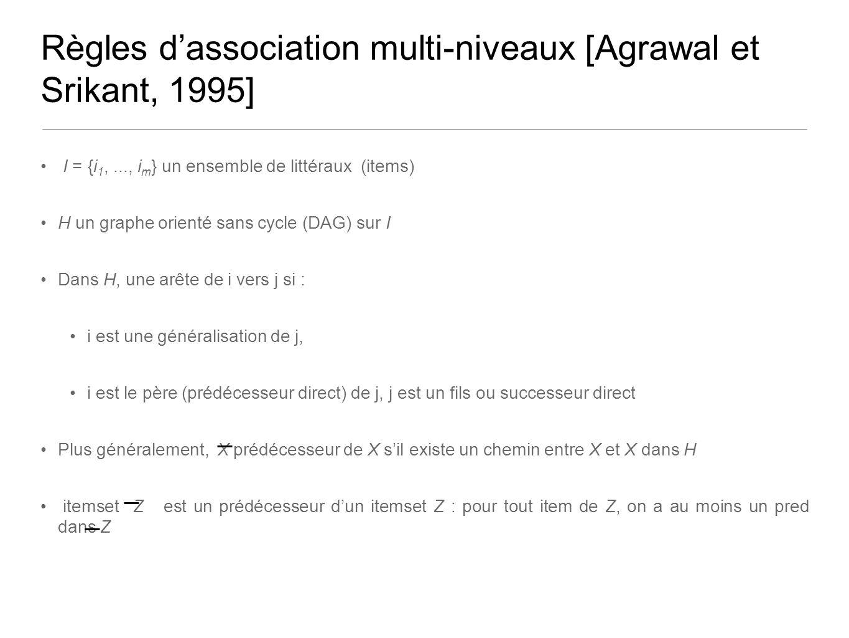 Règles dassociation multi-niveaux [Agrawal et Srikant, 1995] I = {i 1,..., i m } un ensemble de littéraux (items) H un graphe orienté sans cycle (DAG) sur I Dans H, une arête de i vers j si : i est une généralisation de j, i est le père (prédécesseur direct) de j, j est un fils ou successeur direct Plus généralement, X prédécesseur de X sil existe un chemin entre X et X dans H itemset Z est un prédécesseur dun itemset Z : pour tout item de Z, on a au moins un pred dans Z