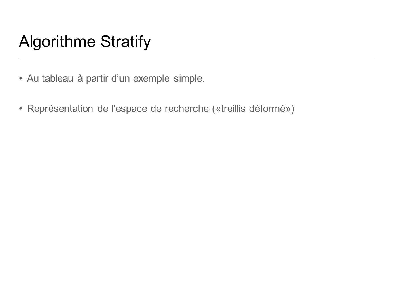 Algorithme Stratify Au tableau à partir dun exemple simple. Représentation de lespace de recherche («treillis déformé»)