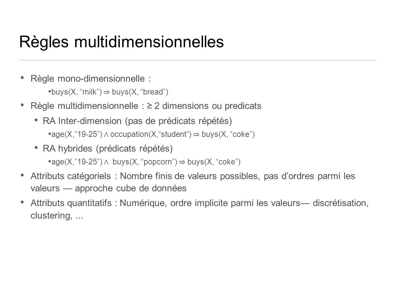 Règles multidimensionnelles Règle mono-dimensionnelle : buys(X, milk) buys(X, bread) Règle multidimensionnelle : 2 dimensions ou predicats RA Inter-dimension (pas de prédicats répétés) age(X,19-25) occupation(X,student) buys(X, coke) RA hybrides (prédicats répétés) age(X,19-25) buys(X, popcorn) buys(X, coke) Attributs catégoriels : Nombre finis de valeurs possibles, pas dordres parmi les valeurs approche cube de données Attributs quantitatifs : Numérique, ordre implicite parmi les valeurs discrétisation, clustering,...