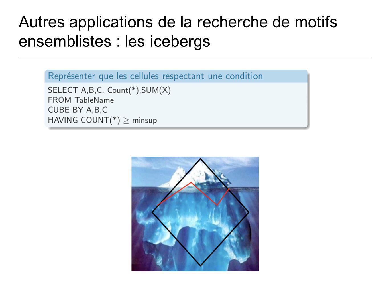 Autres applications de la recherche de motifs ensemblistes : les icebergs