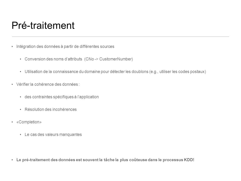Pré-traitement Intégration des données à partir de différentes sources Conversion des noms dattributs (CNo -> CustomerNumber) Utilisation de la connai