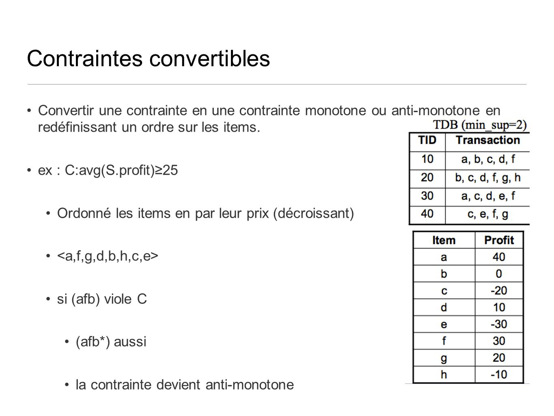 Contraintes convertibles Convertir une contrainte en une contrainte monotone ou anti-monotone en redéfinissant un ordre sur les items. ex : C:avg(S.pr
