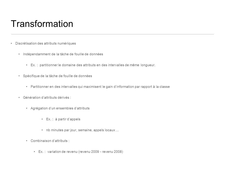 Transformation Discrétisation des attributs numériques Indépendamment de la tâche de fouille de données Ex. : partitionner le domaine des attributs en