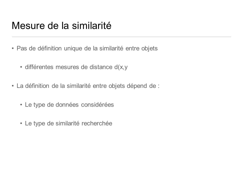Mesure de la similarité Pas de définition unique de la similarité entre objets différentes mesures de distance d(x,y La définition de la similarité en