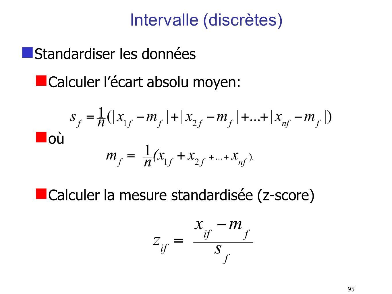 95 Intervalle (discrètes) Standardiser les données Calculer lécart absolu moyen: où Calculer la mesure standardisée (z-score)