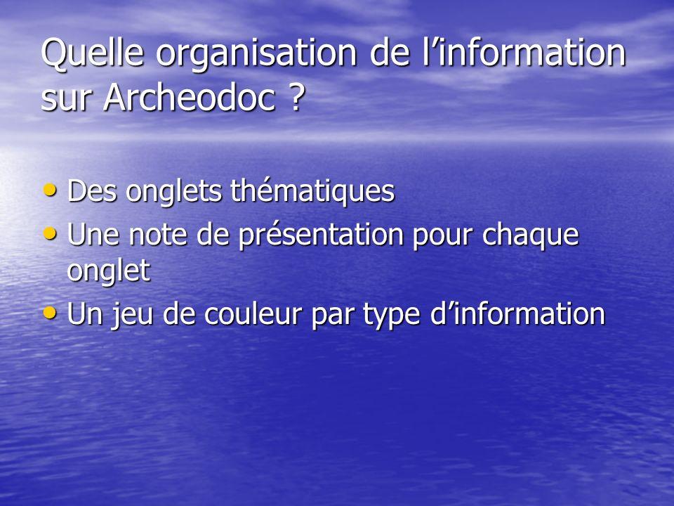 Quelle organisation de linformation sur Archeodoc ? Des onglets thématiques Des onglets thématiques Une note de présentation pour chaque onglet Une no
