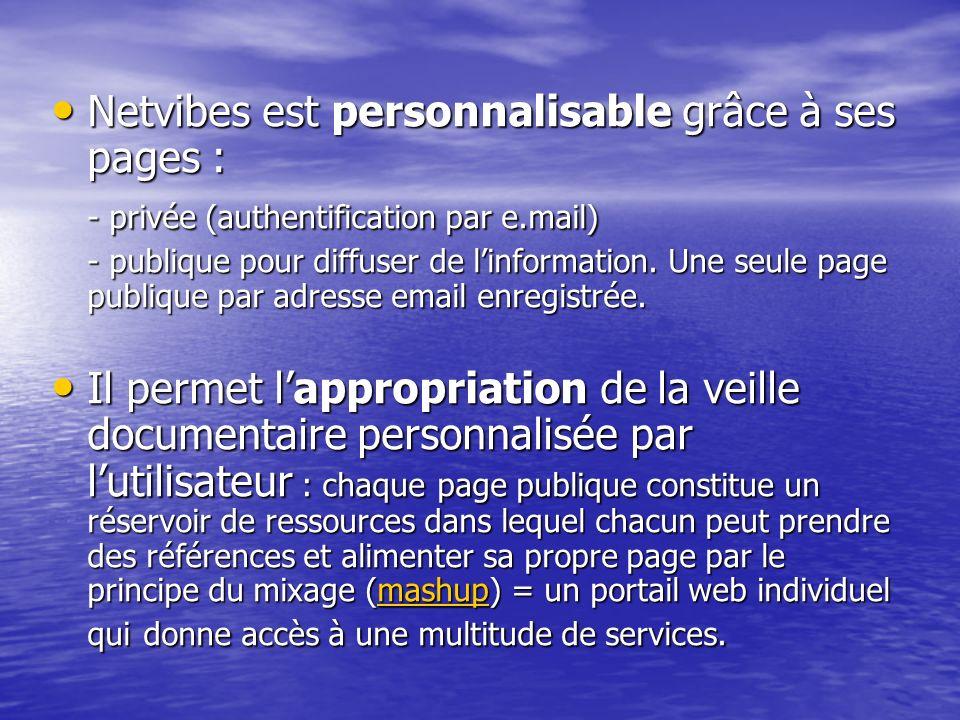 Netvibes est personnalisable grâce à ses pages : Netvibes est personnalisable grâce à ses pages : - privée (authentification par e.mail) - publique po