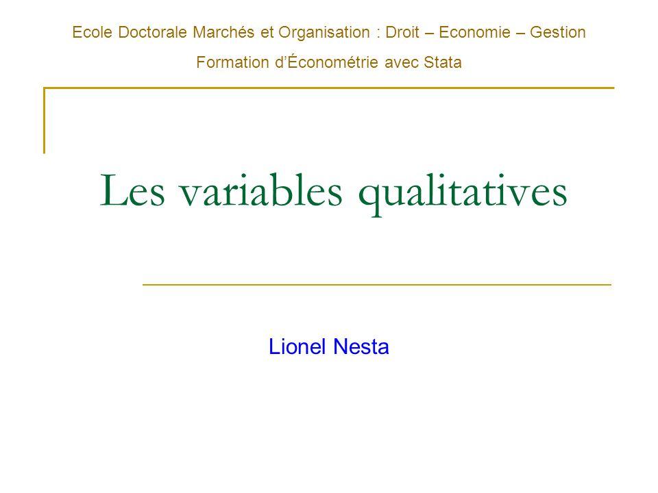 Plan du cours : première partie 1.Les variables qualitatives explicatives 1.Création et gestion des variables qualitatives sous STATA 2.Les variables muettes dans le modèle MCO 2.Les modèles à variables qualitative dépendante 1.Le modèle de probabilité linéaire 2.Lestimation par le maximum de vraisemblance 3.La régression logistique