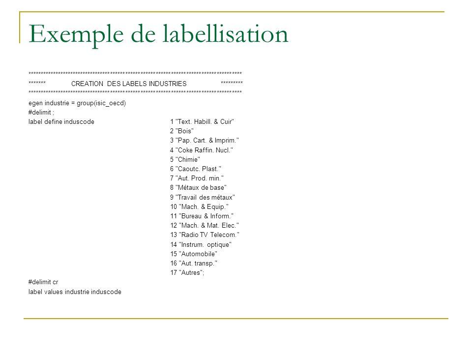 Exemple de labellisation ************************************************************************************* ******* CREATION DES LABELS INDUSTRIES