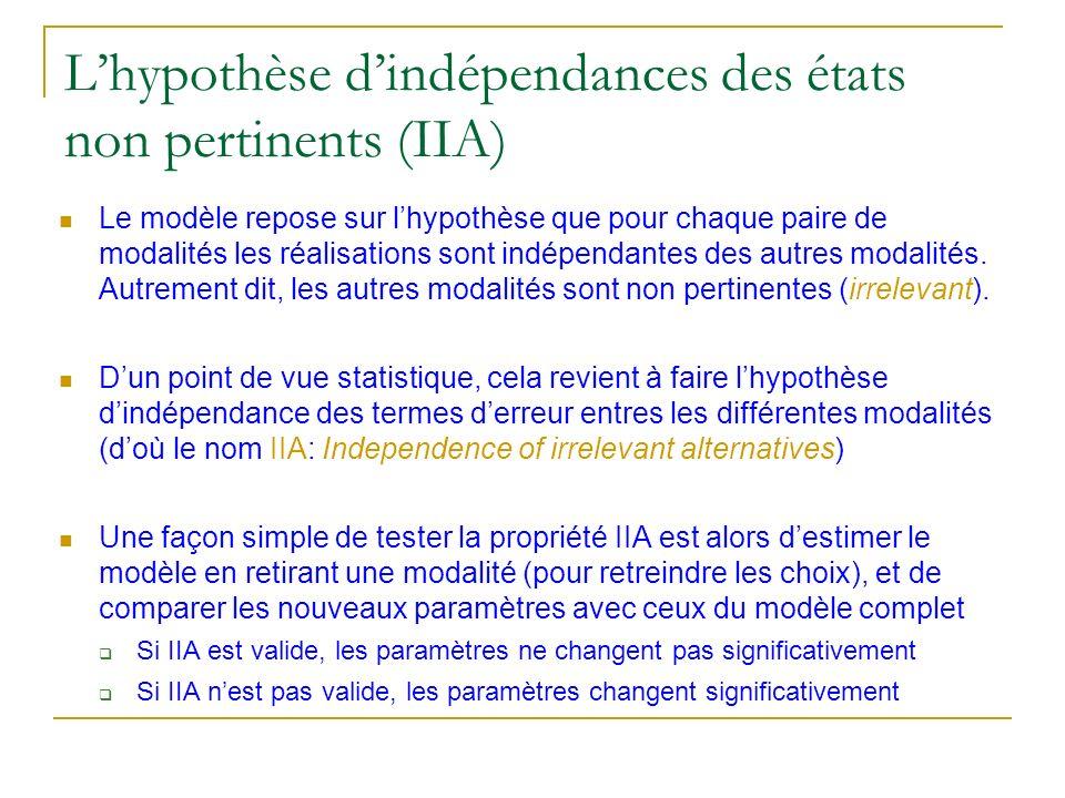 Lhypothèse dindépendances des états non pertinents (IIA) Le modèle repose sur lhypothèse que pour chaque paire de modalités les réalisations sont indé