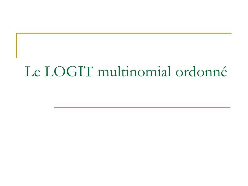 Le LOGIT multinomial ordonné