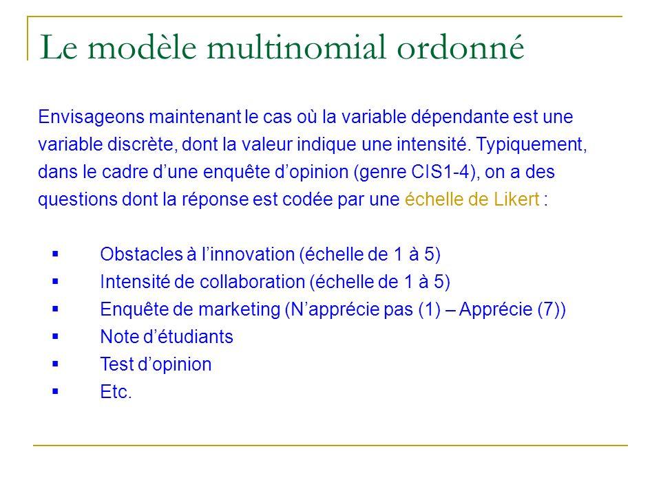 Le modèle multinomial ordonné Envisageons maintenant le cas où la variable dépendante est une variable discrète, dont la valeur indique une intensité.