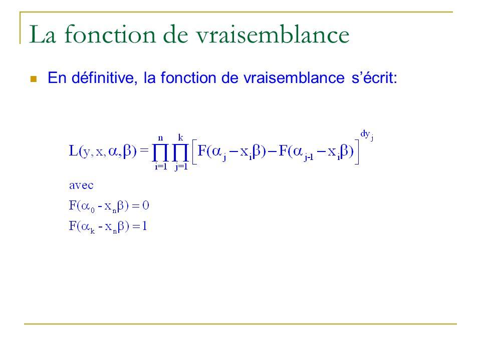La fonction de vraisemblance En définitive, la fonction de vraisemblance sécrit: