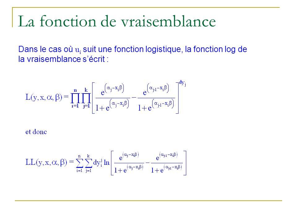 Dans le cas où u i suit une fonction logistique, la fonction log de la vraisemblance sécrit : La fonction de vraisemblance