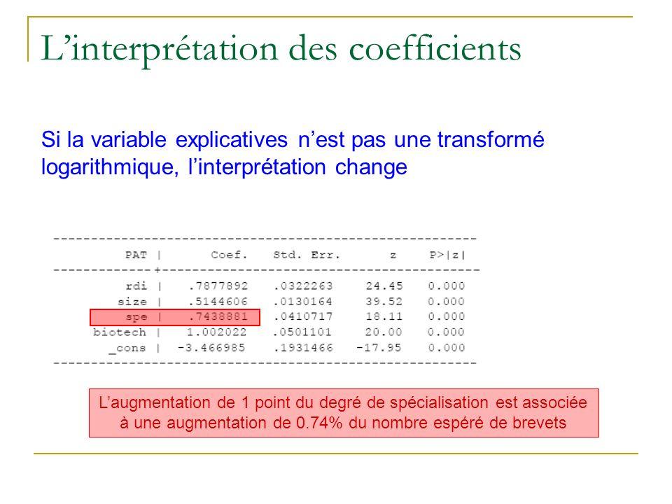 Linterprétation des coefficients Si la variable explicatives nest pas une transformé logarithmique, linterprétation change Laugmentation de 1 point du