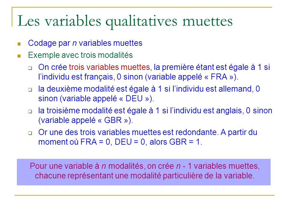 Les variables qualitatives muettes Codage par n variables muettes Exemple avec trois modalités On crée trois variables muettes, la première étant est