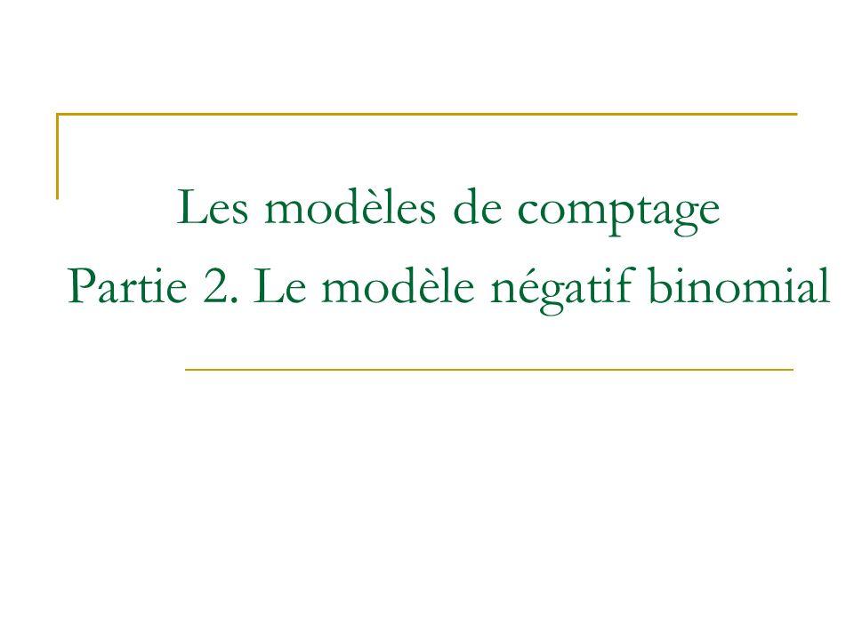 Les modèles de comptage Partie 2. Le modèle négatif binomial