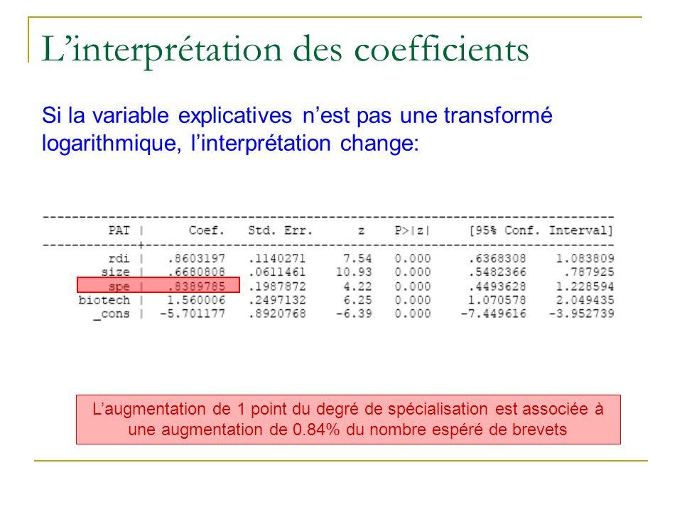 Linterprétation des coefficients Si la variable explicatives nest pas une transformé logarithmique, linterprétation change: Laugmentation de 1 point d