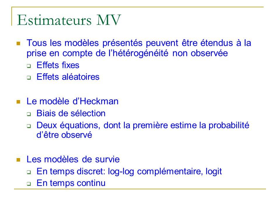 Estimateurs MV Tous les modèles présentés peuvent être étendus à la prise en compte de lhétérogénéité non observée Effets fixes Effets aléatoires Le m