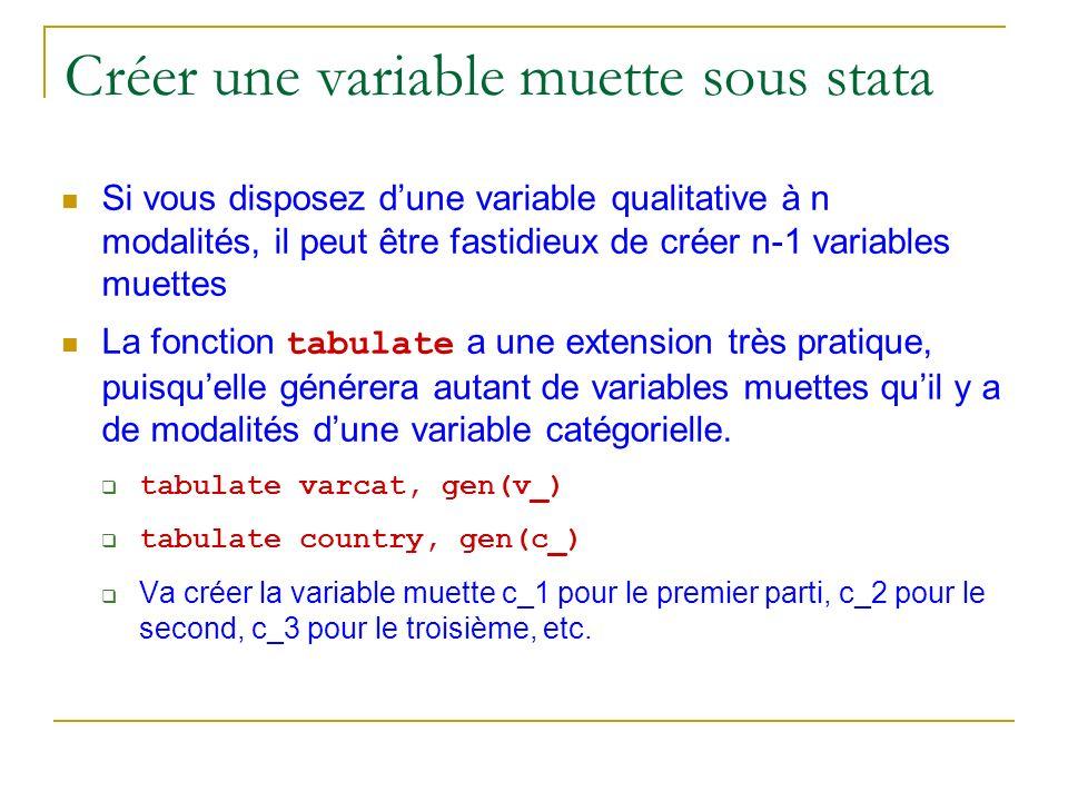 Créer une variable muette sous stata Si vous disposez dune variable qualitative à n modalités, il peut être fastidieux de créer n-1 variables muettes