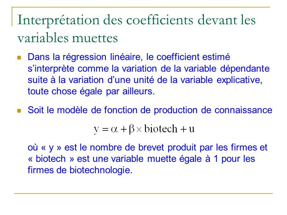 Interprétation des coefficients devant les variables muettes Dans la régression linéaire, le coefficient estimé sinterprète comme la variation de la v